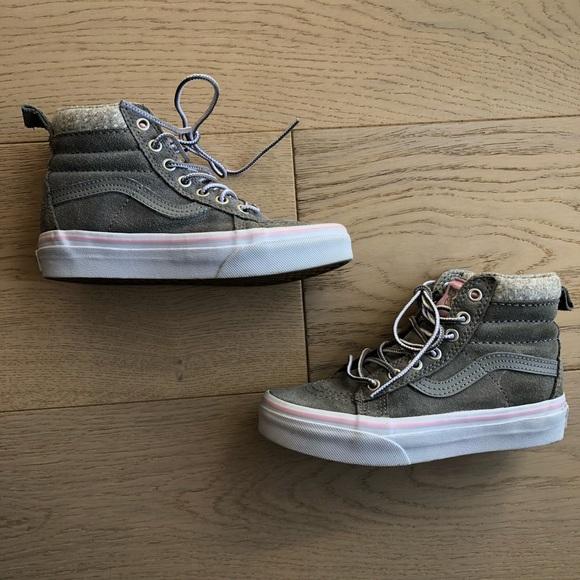 9169356a4750 Vans Girls Sk8 Hi MTE Wild Dove True White Canvas.  M 5a89fddefcdc31798f3c8e85. Other Shoes ...
